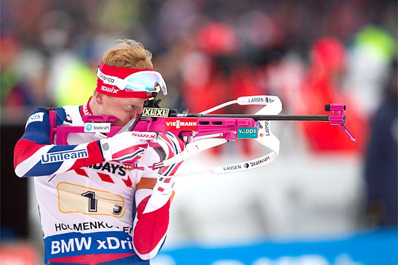 Johannes Thingnes Bø ute på 3. etappe i mix-stafetten under VM i skiskyting i Oslo 2016. Norges lag sikret bronsen. Foto: Manzoni/NordicFocus.