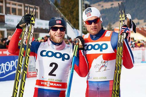 Martin Johnsrud Sundby og Petter Northug etter 5. etappe i Tour de Ski 2015 i Toblach. Foto: Felgenhauer/NordicFocus.