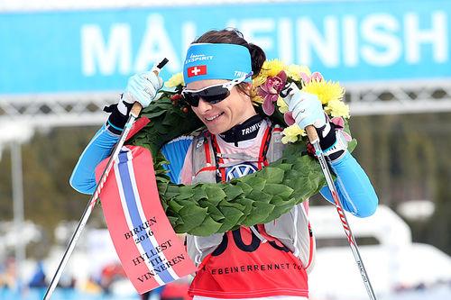 Seraina Boner var beste dame i Holmenkollmarsjen 2018. Her er hun etter at hun vant Birkebeinerrennet for et par sesonger siden. Foto: Birken/Lars Krogsveen.