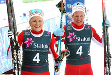 Marthe Kristoffersen (t.v.) og Kathrine Harsem ble norgesmestere i lagsprint for IL Varden under NM på Beitostølen 2016. Foto: Erik Borg.