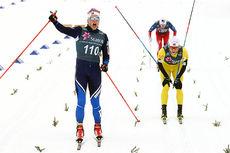 Eirik Brandsdal spurtslår Martin Johnsrud Sundby og tar, sammen med makker Øyvind Moen Fjeld, Kjelsås IL inn til gull på lagsprint under NM på Beitostølen 2016. Foto: Erik Borg.