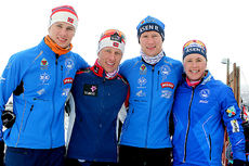 Fire søsken Haga fra Øvre Romerike stiller i NM på Beitostølen 2016. Fra venstre: Anders, Magne, Håvard og Ragnhild. Foto: Erik Borg.