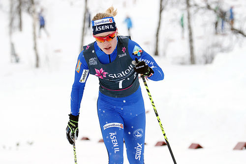 Ragnhild Haga ute på lagsprinten under NM på Beitostølen 2016. Foto: Erik Borg.