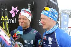 Eirik Brandsdal (t.v.) og Øyvind Moen Fjeld tok gull i lagsprint for Kjelsås under NM på Beitostølen 2016. Foto: Erik Borg.