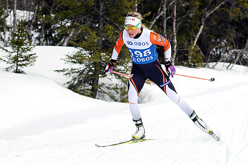 Therese Johaug underveis i 5-kilometeren med fri teknikk under NM på Beitostølen 2016. Det endte med gull. Foto: Erik Borg.
