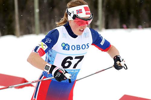 Kari Øyre Slind på ute på 3-mila under NM på Beitostølen 2016, der hun endte på fjerdeplass. Foto: Erik Borg.