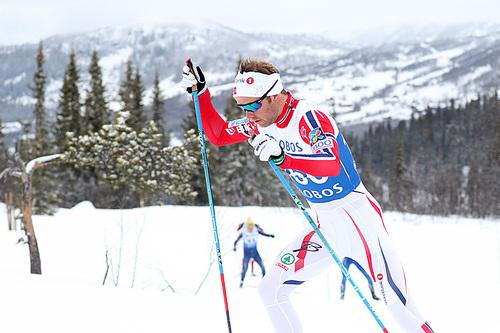 Sjur Røthe gikk inn til sølv på 5-mila under NM på Beitostølen 2016. Foto: Erik Borg.