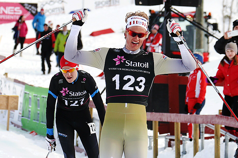 Filip Fjeld Andersen kan juble for seier i Norgescup-finalen for klasse menn 17 år på Beitostølen 2016. Foto: Erik Borg.