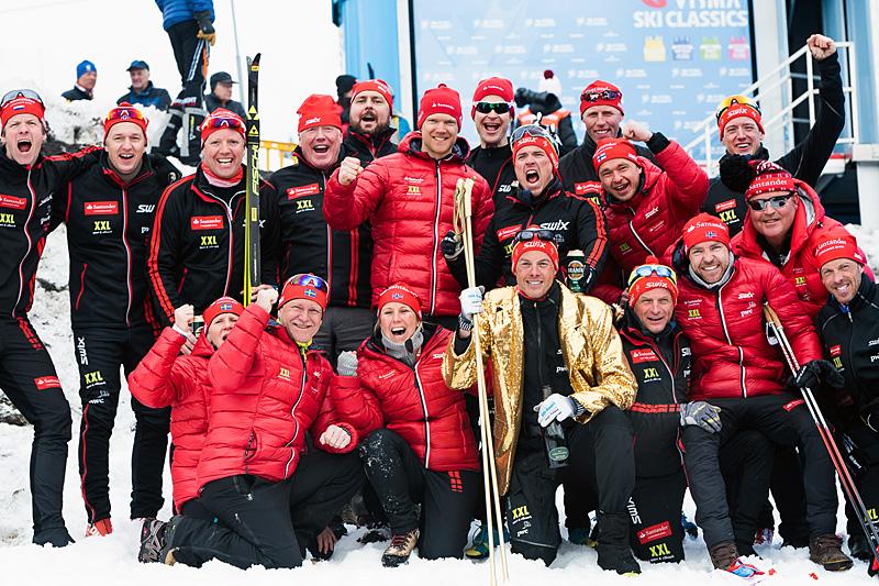 Team Santander vant teamcupen i Ski Classics 2015/2016. Foto: Team Santander.