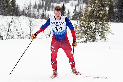David Haugen fullførte NM-5-mila som sitt 2. skirenn noensinne. Foto: Erik Borg.