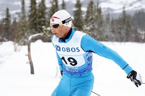 Kristen Skjeldal i aksjon på 5-mila under NM på Beitostølen 2016. 49-åringen ble nummer 38 av de 129 som fullførte rennet. Foto: Erik Borg.