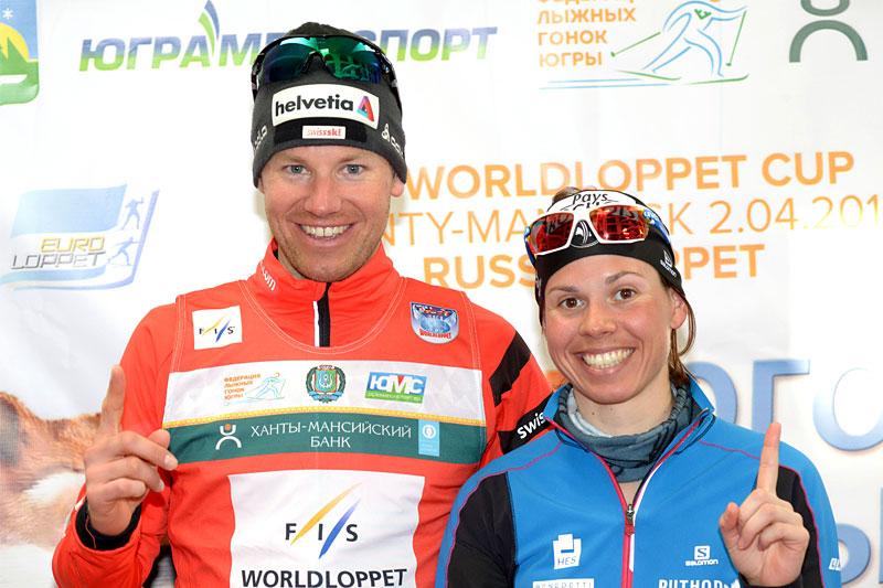 Toni Livers og Aurelie Dabudyk foreviget på finaleetappen av FIS Worldloppet Cup i Khanty-Mansiysk - Ugra Ski Marathon. Foto: Andrey Kascha.