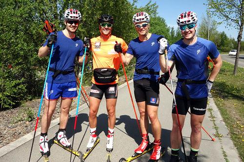 Verdensmester Ludvig Søgnen Jensen gir sine beste tips for rulleskisesongen. Fra venstre: Sondre Turvoll Fossli, Ludvig Søgnen Jensen, Eirik Brandsdal og Sindre Bjørnestad Skar. Foto: Privat (@luddeyo på Instagram).