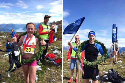 Eli Anne Dvergsdal og Stian Angermund-Vik kapret NM-gullene i motbakkeløp under mesterskapet 2016 som var innlagt i Molden Opp. Arrangørfoto.