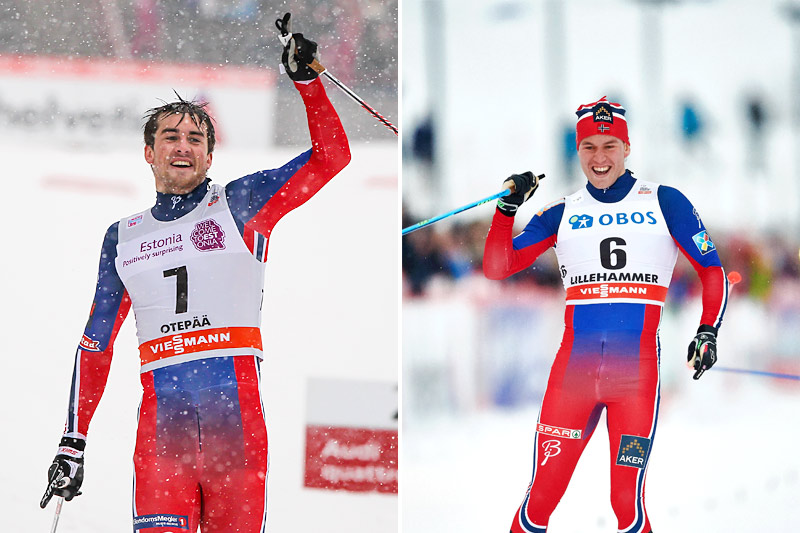 Verdenscupjubel for Tomas Northug (tv) og Pål Golberg. Foto: Laiho og Felgenhauer/NordicFocus.