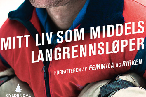 Deler av forsiden til boka Mitt liv som middels langrennsløper av Thor Gotaas på Gyldendal.