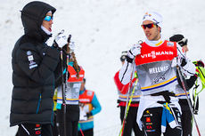 Calle Halfvarsson (t.v.) og Marcus Hellner i anledning verdenscupen i Davos en tidligere vinter. Foto: Laiho/NordicFocus.