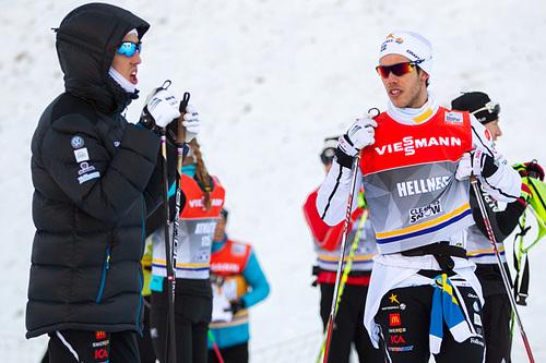 Calle Halfvarsson (t.v.) og Marcus Hellner. Foto: Laiho/NordicFocus.