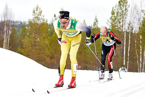 John Kristian Dahl fører an med Tord Asle Gjerdalen i rygg under Vasaloppet 2015. I mål ble de henholdsvis nummer 5 og 6. Foto: Felgenhauer/NordicFocus.
