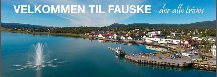 Velkommen til Fauske skilt fontene
