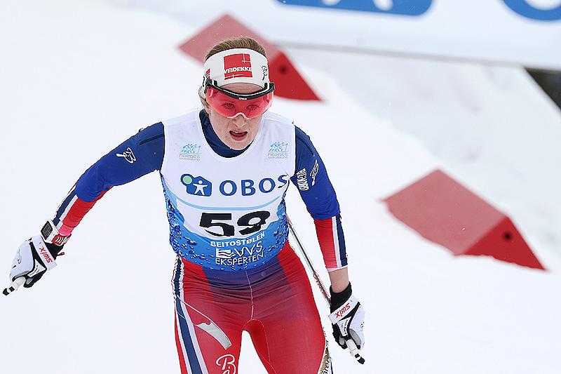Anna Svendsen i 3-mila under NM på Beitostølen 2016. Foto: Erik Borg.