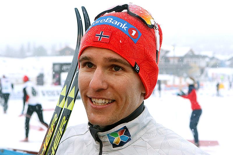 Didrik Tønseth etter sin seier på 15 kilometer klassisk under Beitosprinten 2016. Foto: Erik Borg.