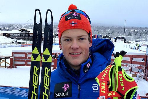 Johannes Høsflot Klæbo gikk helt til topps i herrenes sprint under sesongåpningen på Beitostølen 2016. Foto: Geir Nilsen/Langrenn.com.