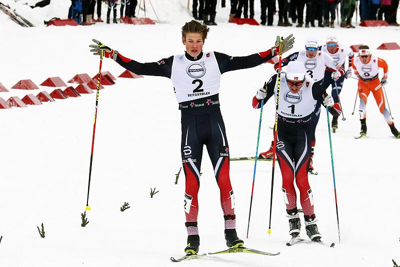 Johannes Høsflot Klæbo inn til seier i sprintfinalen på Beitosprinten 2016. Foto: Erik Borg.