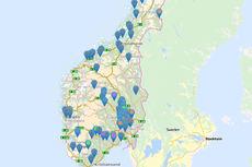 Deler av startvinduet hos Løyper.net. Hvert snøsymbol er et løypelag eller en destinasjon. Grafikk: Løyper.net/Langrenn.com.