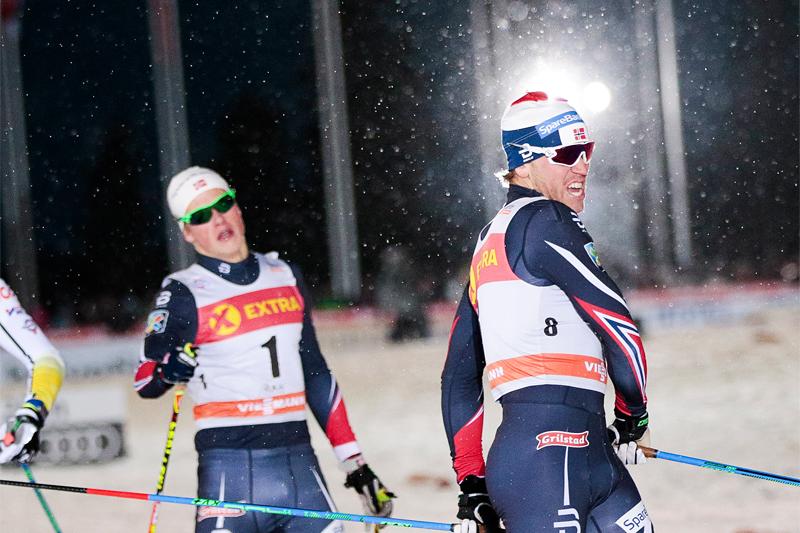 Pål Golberg kom inn som reserve og vant Kuusamo-sprinten i verdenscupen forrige vinter. Reserve var også mannen bak, Johannes Høsflot Klæbo, som tok 3. plass. Foto: Modica/NordicFocus.