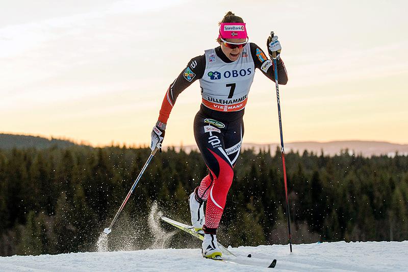 Maiken Caspersen Falla er beste norske så langt i minitouren som avrunder verdenscupsesongen. Foto: Modica/NordicFocus.