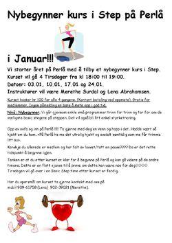 Nybegynner kurs i Step på Perlå i Januar!!!