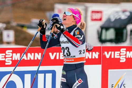 Kathrine Harsem var strålende fornøyd etter den sterke fjerdeplassen i Tour de Ski 2016-2017 sin første etappe, skøytesprinten i Val Müstair. Foto: Modica/NordicFocus.