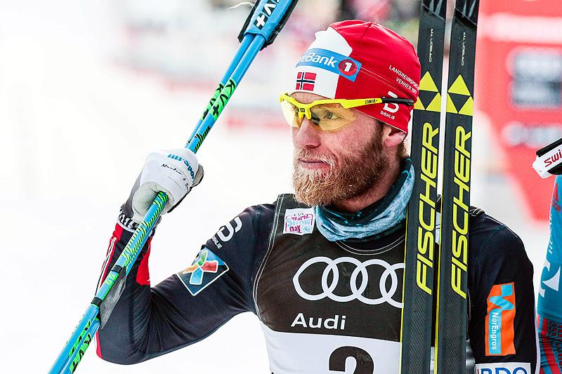 Martin Johnsrud Sundby gikk til topps på 6. etappe av Tour de Ski 2016-2017, den 15 kilometer lange fellesstart i klassisk stil i Val di Fiemme. Foto: Modica/NordicFocus.