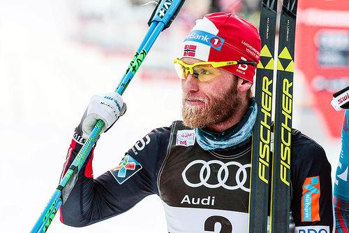 Martin Johnsrud Sundby gikk til topps på 6. etappe av Tour de Ski 2016-2017, den 15 kilometer lange fellesstarten i klassisk stil i Val di Fiemme. Foto: Modica/NordicFocus.