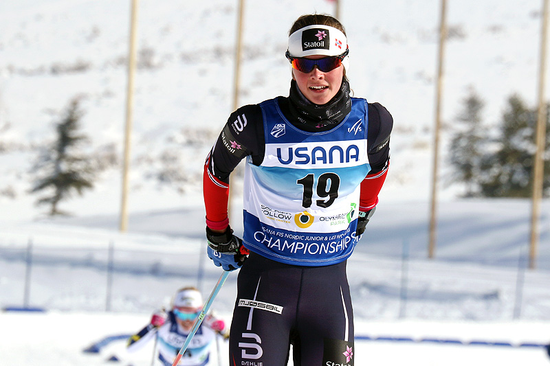 Mathilde Myhrvold inn til 5. plass på damenes sprint i Junior-VM Park City 2017. Foto: Erik Borg.