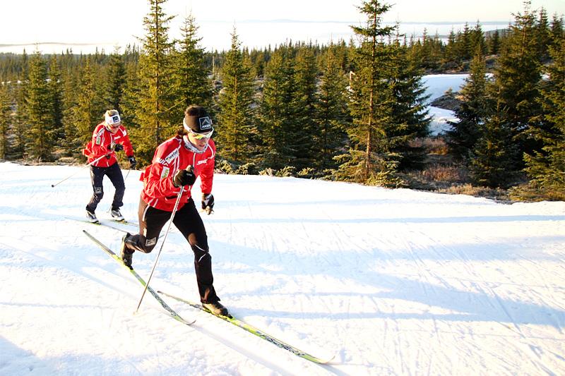 Marit Bjørgen og Therese Johaug ute på drag i Natrudstilens løyper ved Sjusjøen. Foto: Geir Nilsen/Langrenn.com.