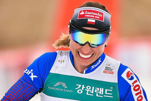 Justyna Kowalczyk inn til seier på skiathlon under Prøve-OL, verdenscupen i Pyeongchang 2017. Foto: Thibaut/NordicFocus.