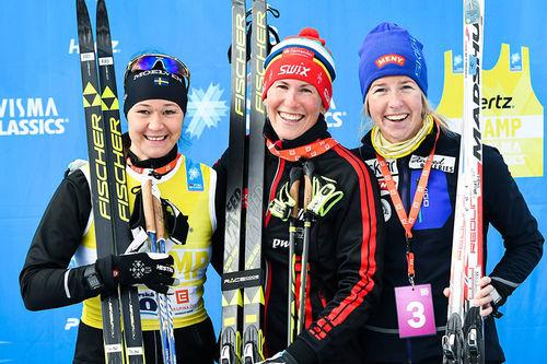 Seierspallen i det 50 km lange Jizerska 2017. Fra venstre: Britta Johansson Norgren (2. plass), Katerina Smutna og Astrid Øyre Slind. Foto: Magnus Östh/Visma Ski Classics.