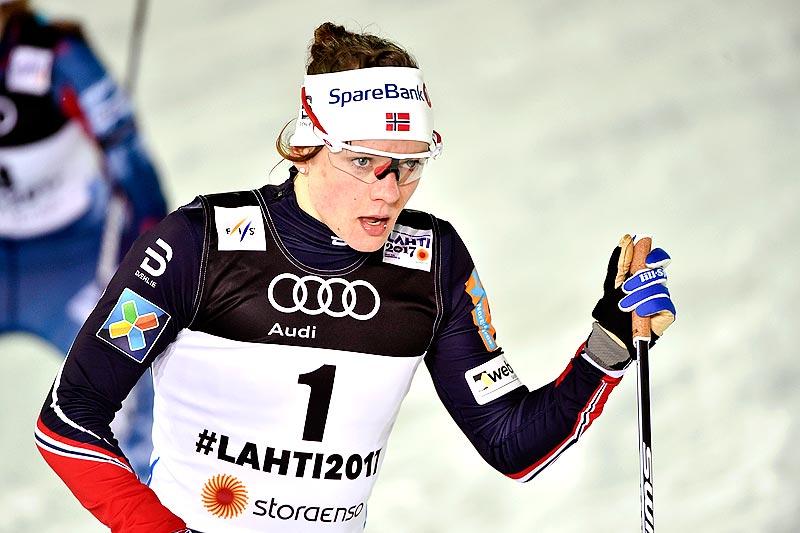 Maiken Caspersen Falla under VM-sprinten i Lahti 2017, der hun på suverent vis vant gullet. I Québec fredag er hun først av de norske ut fra startblokka. Foto: Thibaut/NordicFocus.