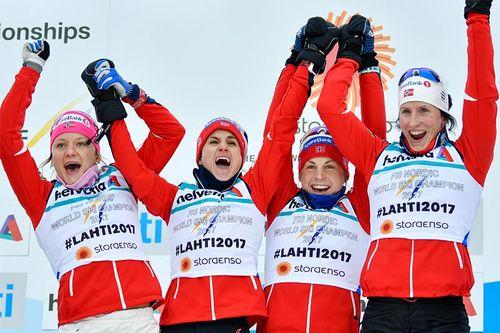 Norges gulljenter fra VM-stafetten i Lahti 2017. Foto: Thibaut/NordicFocus.