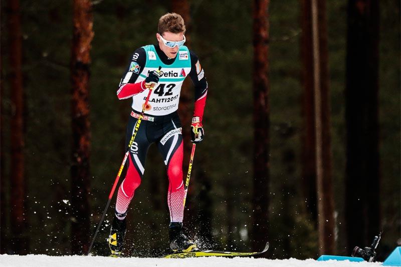 Didrik Tønseth har startnummer 1 i verdenscupprologen i Québec fredag. Her er han på vei mot 5. plass på 15 km under VM i Lahti 2017. Foto: Modica/NordicFocus.