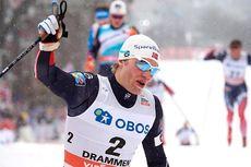 Eirik Brandsdal jubler over seier på verdenscupsprinten i Drammen 2017. Foto: Rauschendorfer/NordicFocus.