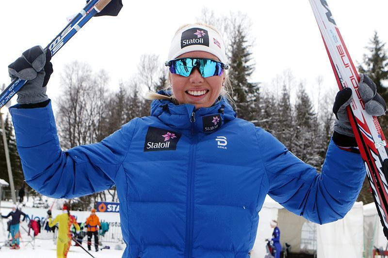 Marte Mæhlum Johansen ble norgesmester i eldste dameklasse på 5 kilometer klassik under Junior-NM i Harstad 2017. Foto: Erik Borg.