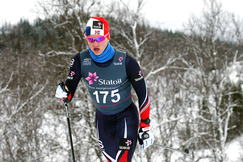 Jon Rolf Skamo Hope på vei mot gull på 10 kilometer klassisk for Menn 19/20 år under Junior-NM i Harstad 2017. Foto: Erik Borg.