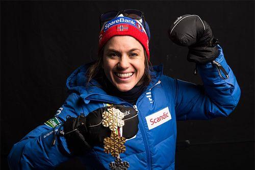 Heidi Weng med medaljefangsten under Lahti-VM 2017. Foto: Modica/NordicFocus.