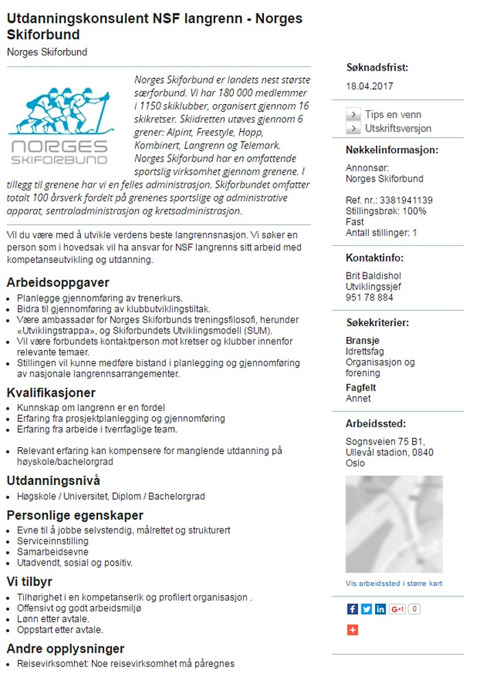 Stilling ledig i Norges Skiforbund Langrenn - Utdanningskonsulent.
