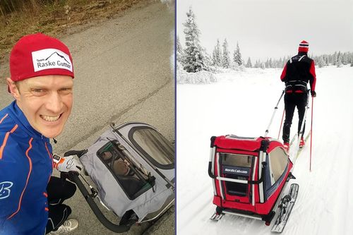 Erlend Damon Stokke viser at det er fullt mulig å få gode treningsturer sammen med den unge håpefulle. Foto: Privat
