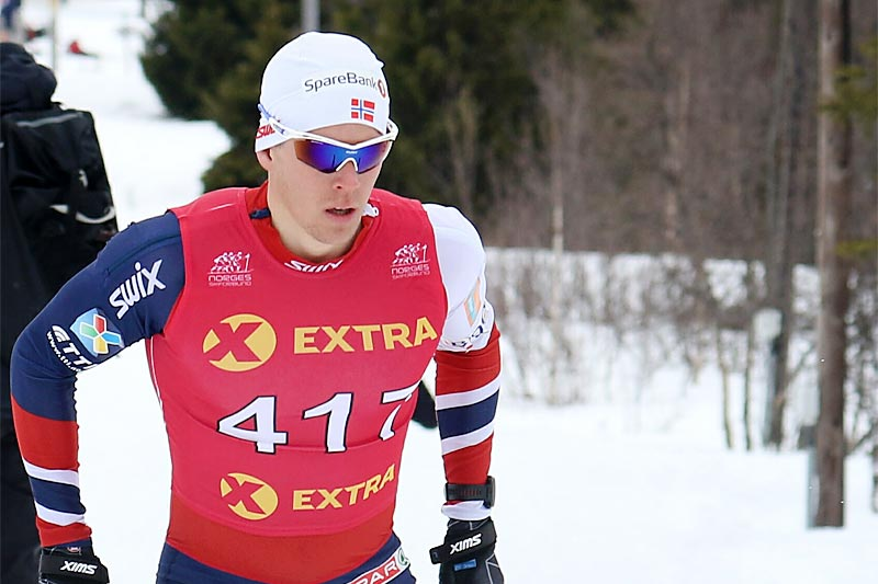 Anders Gløersen på vei mot NM-gullet på 10 km under mesterskapet på Gålå 2017. Foto: Erik Borg.