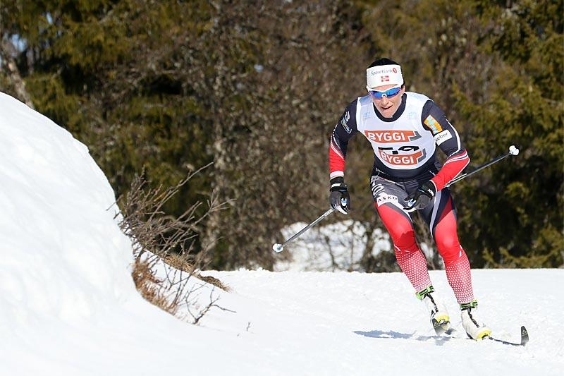 Marit Bjørgen på vei mot suveren seier på 3-mila i Gålå-NM 2017. Foto: Erik Borg.